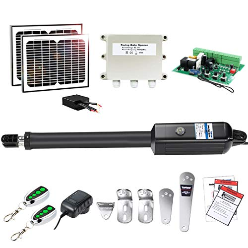 TOPENS A8S Automatic Gate Opener Kit Heavy Duty Solar Single Gate Operator for Single Swing Gates Up to 880 Pounds Gate Motor with Solar Panel