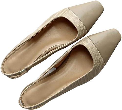femmeschaussures Chaussures pour Femmes, Petites Chaussures pour Femmes à tête carrée Sandales Plates Demi-tête de Couleur Assortie aux Chaussures à Talons Bas en Cuir,A,34