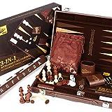 Peradix Gran Clásico Backgammon Set Premium de Piel Sintética, 38.2×23.2cm, con Tablero...
