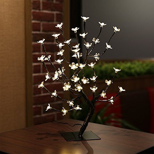 Zanflare 0.45M/17.72Inch 48LEDs Cherry Blossom Desk Top Bonsai Tree Light, Black Branches, Perfect for Home Festival Party Wedding Christmas Indoor Outdoor Decoration (Warm White+USB)