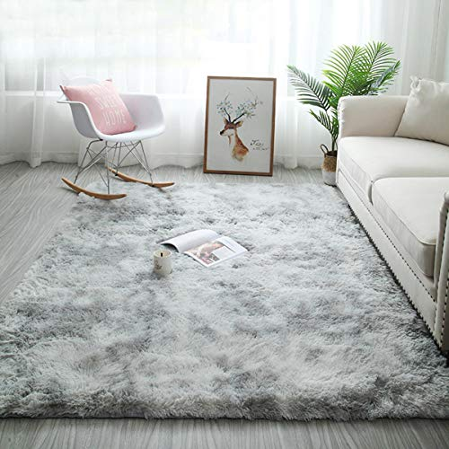 Tinyboy-hbq Area Rugs Large Living Room Rug Soft Bedroom Carpet Anti Slip Fluffy Rugs Shaggy Indoor Nursery Kids Rug Mat Soft Floor Mat Furry Plush Rug for Home Decor(Gray white, 160 * 200cm)