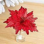 Silk Flower Arrangements Worldoor Large Christmas Poinsettia 6pcs Artificial Flower Picks Spray for Christmas Tree Decoration Wreath Garland (Red)