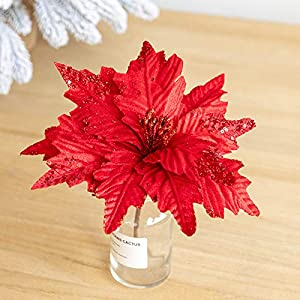 Worldoor Large Christmas Poinsettia 6pcs Artificial Flower Picks Spray for Christmas Tree Decoration Wreath Garland (Red)