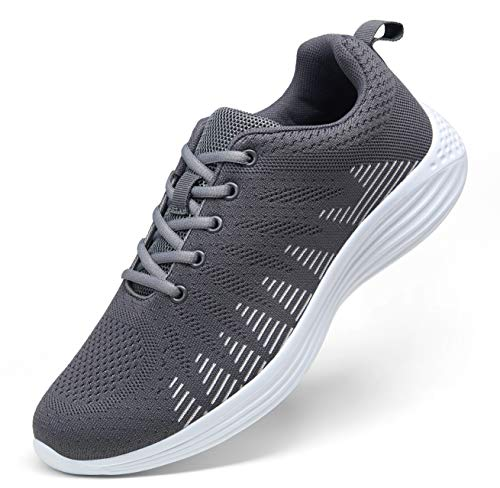 JOUSEN Men's Running Shoes Sports Non Slip Sneakers Lightweight Breathable Tennis Shoes for Men (10.5,Grey)