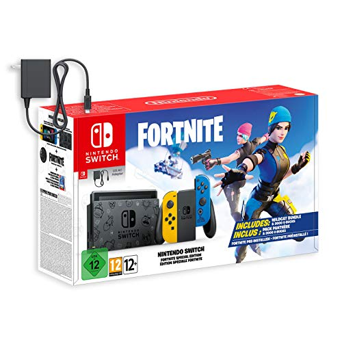 Nintendo Switch Bundle (7 items): 32GB Console Neon Red Blue Joy-con, Game Disc Splatoon 2, Extra Pair of Joy-con Red and Blue,128GB Micro SD Card, Type C Cable, HDMI Wall Charger