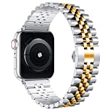 Wolait Compatible with Apple Watch Band 44mm 42mm 40mm 38mm, Stainless Steel Heavy Band with Butterfly Folding Clasp Link Bracelet for iWatch Series 6/SE Series 5/4/3/2/1 Men , Silver/Gold, 44mm/42mm