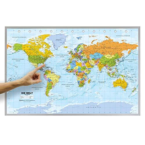 ORBIT Globes & Maps - Weltkarte - Kork Weltkarte auf Pinnwand mit Holzrahmen (silber) 90 x 60 cm, deutsch mit Fähnchen und Pins sowie Befestigungsmaterial