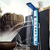 KEKEYANG baño Ducha Digital Display LED grifos de Negro 3 Way Rainshower Set Digital 3 Maneras Ducha Sistema