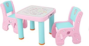 EXCLVEA-TCS Baby Activity Table- Children s Table And Chair Set Study Table Desk Game Table And Chair Baby Play Table  Color Pink  Size 61x51 59x31cm