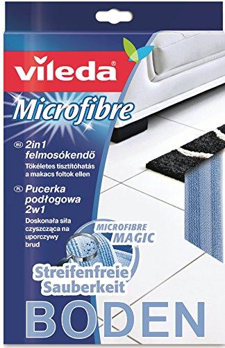Vileda Microfaser Bodentuch 2in1 mit Reinigungsstreifen zur Entfernung selbst eingetrockneter Verschmutzungen