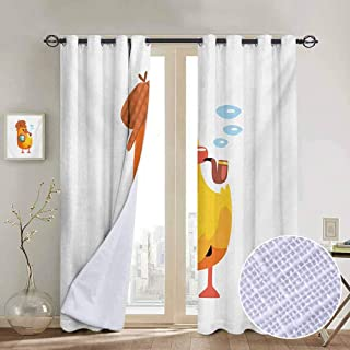 large room decor for boys Cartoon,Private Detective Duckling Character with a Magnifying Glass and Pipe Duck Sherlock,Multicolor Insulating Room Darkening Blackout Drapes for Bedroom 84 x L84 Inch