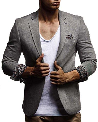 Leif Nelson Herren Sakko Blazer sportlich Slim Fit Modern Hemd T-Shirt Schwarz Blau Anthraztit LN4007 ; Größe M, Anthrazit