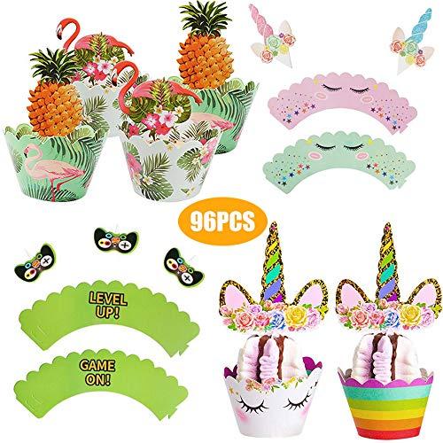 96 stks Eenhoorn Cupcake Toppers en Wrappers Decoraties (48 van elk), dubbelzijdig afdrukken voor kinderen Verjaardag Baby Douche Thema Party Decoraties benodigdheden