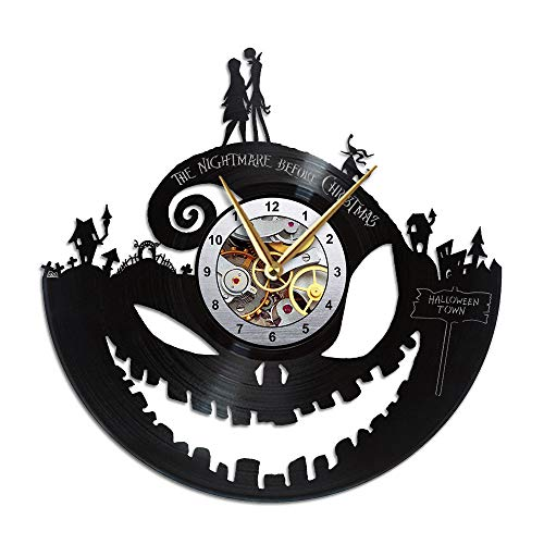 AroundTheTime Nightmare Before Christmas Clock, Vinyl Record Wall Clock, Gift Decor