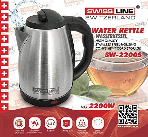 Swiss Line Bouilloire en inox 1.8L 1500W SW2200S