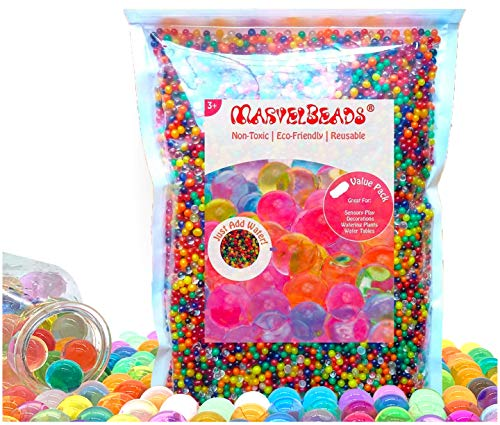 MarvelBeads Water Beads (Half Pound Bulk) Rainbow Mix for Sensory Play, Spa Refill, Toys and Décor (Non-Toxic), Marble Sized