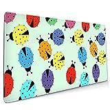 Gaming Mauspad XXL (900 x 400 x 3 mm) Schreibtischunterlage extended mousepad Office Tischunterlage groß mit gel Rubber (Ladybugs Colorful)