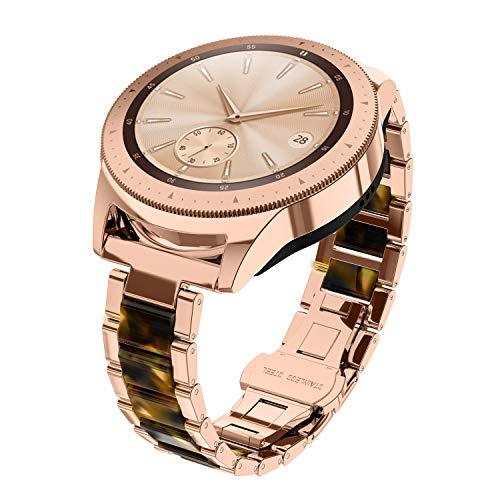 Glebo Pulsera compatible con Samsung Galaxy Watch 42 mm/Active 2 40 mm 44 mm/Active 40 mm/Watch 3 41 mm, 20 mm, metal y resina, pulsera de repuesto para Samsung Gear Sport, oro rosa + ámbar