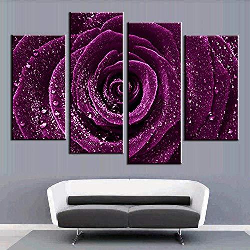 ANTAIBM® 4 Leinwandmalerei HD-Druck Holzrahmen - verschiedene Größen - verschiedene StileHD-Druck Leinwand Modulare Wandkunst 4 Stück lila Rose mit Tau Malerei Blumenbild Wohnzimmer Home Decor Poster