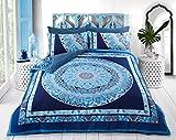 Sleepdown Juego de Funda de edredón con Fundas de Almohada para Cama de Matrimonio (200 cm x 200 cm), diseño de Mandala Azul
