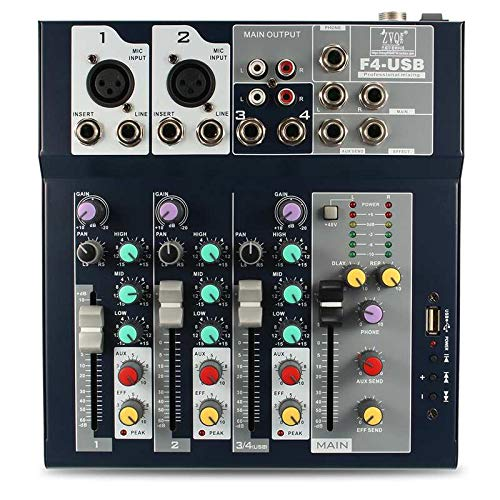 SSSabsir 4 Channel USB DJ Mixer Controller Karaoke Mixing with Built-in Amplifier Metal Mezclador Console for KTV UK plug