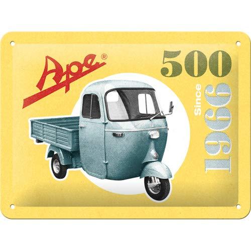 Nostalgic-Art Retro Blechschild APE – 500 Since 1966 – Geschenk-Idee für Italien-Fans, aus Metall, Vintage-Design zur Dekoration, 15 x 20 cm