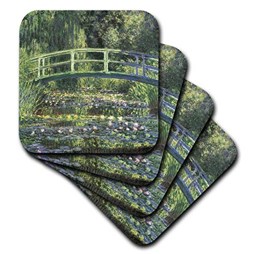 3dRose cst_164669_1 Water Lilies and Japanese Bridge Monet Vintage-Soft Coasters, Set of 4