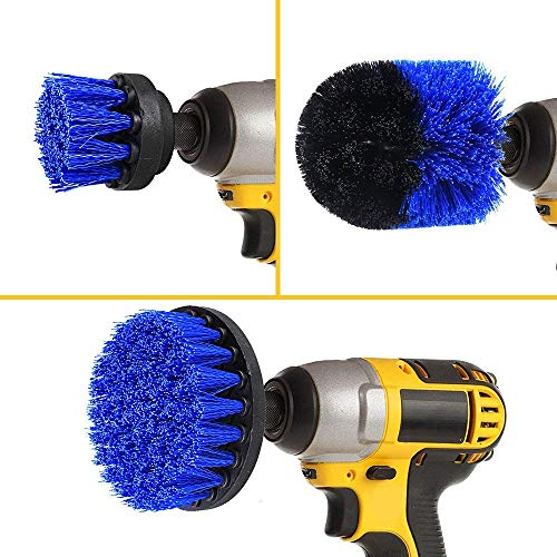 Drill Attachment Power Scrubber – Turbo Scrub Kit of 3 Scrubbing Brushes – All Purpose Shower Door, Bathtub, Toilet, Tile, Grout, Rim, Floor, Carpet, Bathroom and Kitchen Surfaces Cleaner 2