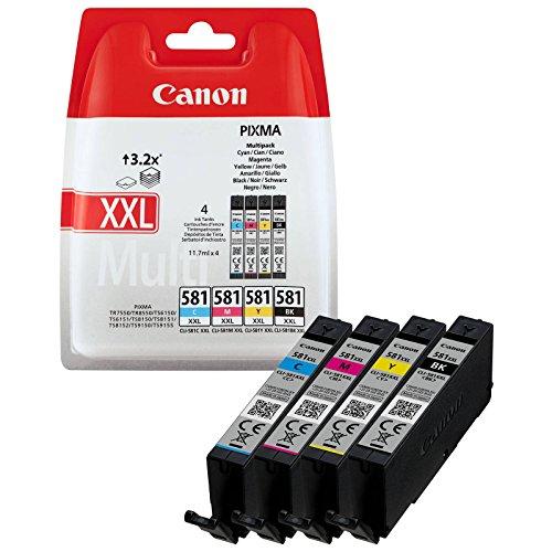 Canon CLI-581XXL BK/C/M/Y Druckertinte Multipack - mit sehr hoher Reichweite jeweils 11,7 ml für PIXMA Tintenstrahldrucker ORIGINAL