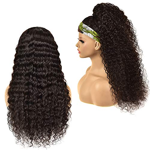 26 Inch Headband Deep Wave Wig Deep Curly Hair Band Wig for Black Women None Lace Front Wigs 10A Brazilian Virgin Hair Deep Wave Easy Wear Wigs Machine Made for Beginners Natural Color 150nsity Wig