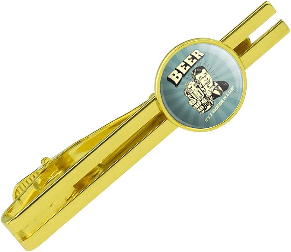 GRAPHICS & MORE Beer It's a Vacation in a Can Funny Humor Round Tie Bar Clip Clasp Tack Gold Color Plated