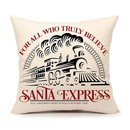 4TH Emotion Christmas Santa Express Train Throw Pillow Cover Christmas Saying Cushion Case for Sofa Couch 18x18 Inches Cotton Linen