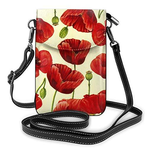 Bolso ligero del teléfono celular de la PU, bolso pequeño de la flor de la amapola roja bolso del hombro de la cartera Pounch para las mujeres