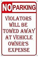 警告標識金属標識駐車していない違反者は車の所有者に引きずられる料金標識面白い屋外標識道路標識7.9×11.8インチ