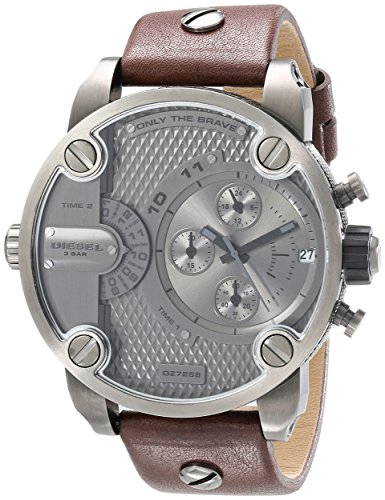 Diesel Men's DZ7258 Little Daddy Gunmetal Brown Leather Watch