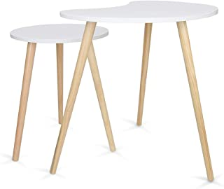 Home-Man Nesting Coffee End Tables Modern Furniture Decor Side Table for Living Room Bedroom Balcony Home and Office, Nature White Pea Shape Tabletop Set of 2