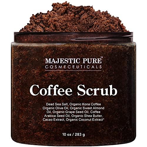 Majestic Pure Arabica Coffee Scrub - All Natural Body Scrub for Skin...