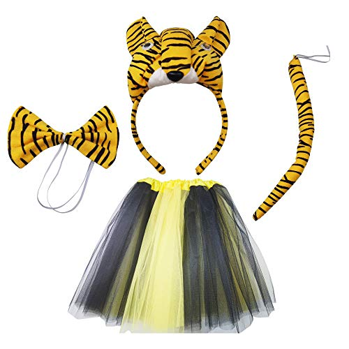 4 Pieces Tiger Costume Set Animal Costume Kit Accessories Tiger Ear Bow Tie And Skirt for Kids Halloween Christmas Animal Cosplay Birthday Party And Stage Performance