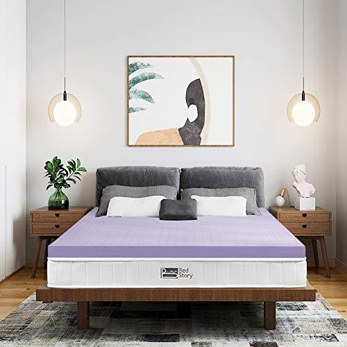 BedStory Topper aus 100% Rein Memory Foam 140x200x5cm, Viskoelastische Matratzenauflage für unbequeme Betten/Matratze/Boxspringbett, Premium H2 atmungsaktiv Matratzentopper Lavendelöl