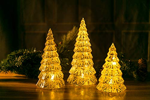 Christmas LED Handmade Glass Lighted Christmas Tree Figurine Mercury Antique Silver Vintage Gift Present Ornament 3 Piece Mouth Blown Decoration for Window Tabletop Mantel Shelf