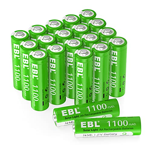 EBL AA Rechargeable Batteries 1.2V AA Batteries for Outdoor Solar Garden Lights, 1100mAh 20 Counts High Performance Ni-MH AA Battery