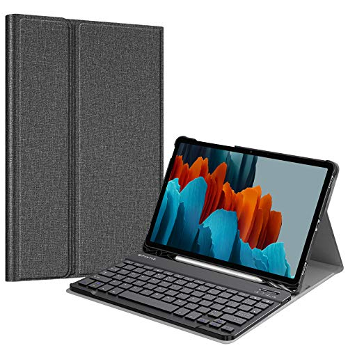 """FINTIE Keyboard Case for Samsung Galaxy Tab S7 11"""" Tablet 2020 (SM-870/SM-875), Slim Stand Cover with S Pen Holder, Detachable Wireless Bluetooth Keyboard (UK Version), Grey"""