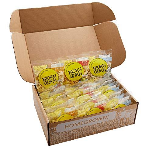 BjornQorn Popcorn Mini-Mix 15 Pack (3 Flavors) - Vegan & Gluten-Free - (5)Classic, (5)Spicy, (5)Cloudy - (15 1oz bags)