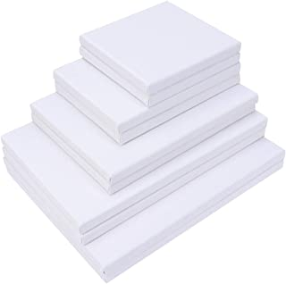 SUPVOX Stretched White Blank Canvas Artist Canvas Board Wood Painting Panel Boards for DIY Drawing 10Pcs