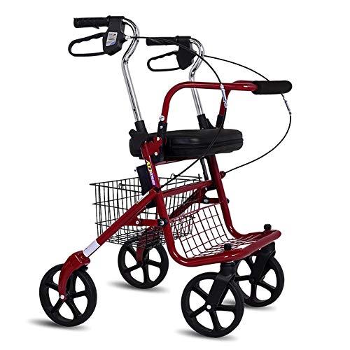 Rollator met stoel, in hoogte verstelbare rollatoren 4 wiel winkelen vouwen Trolley voor de oudere leeftijd wandelstoel kan kopen voedsel om te helpen duwen de kleine