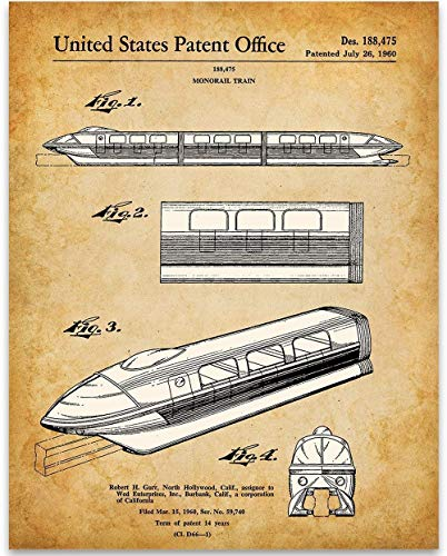 Disney Monorail Patent Print - 11x14 Unframed Patent Print - Great Gift Under $15 for Disney Fans