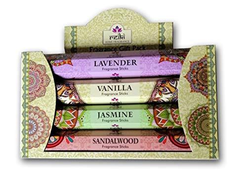 Reiki Incienso Natural Aromático | Caja 4 Paquetes de 8 Unidades c.u. Distintos Aromas Lavanda Jazmín Rosa Vainilla | Gran Duración Aroma Delicado