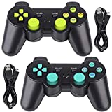 PS3 Controller 2 Pack Wireless 6-axis Dual Shock Gaming Controller for Sony Playstation 3 with Charging Cord (PS3 Controller 2 Pack, Blue & Green)