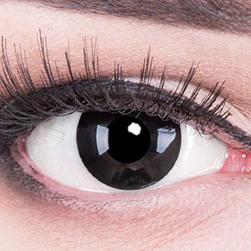 Funnylens 1 Paar farbige schwarze Crazy Fun black out Jahres Kontaktlinsen.Topqualität zu Fasching und Karneval mit gratis Kontaktlinsenbehälter ohne Stärke