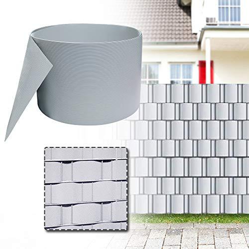 UISEBRT 10x Sichtschutzstreifen Hart PVC für doppelstabmatten - Sichtschutz Balkon gartenzaun Anthrazit,25m x 19cm (Grau)